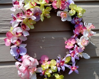 Tropical Orchid 18' Grapevine Wreath of pink, yellow, lavender, purple artificial orchids