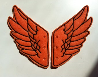 Orange and Black Percy Jackson Inspired Shoe Wings