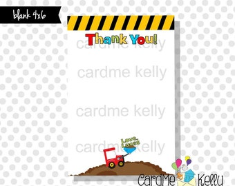 4x6 Printable Coordinating M2M Construction Loader Dump Truck Thank You Card - design file
