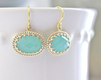 Mint Earrings Gold Earrings Bridesmaids Jewelry, Bridal Jewelry, Mint and Gold, Gifts for Her, Christmas Gifts, Gifts for Mom