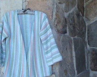 70s PASTEL STRIPED CARDIGAN vintage hippie space dye bell sleeve S