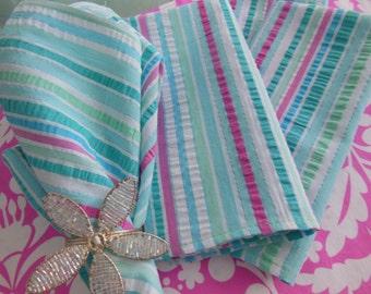 Stripe Napkins - Turquoise Napkins - Mint Green Napkins - Set of Four - Shades of Aqua Striped With Metallic Napkins by Pillowscape Designs