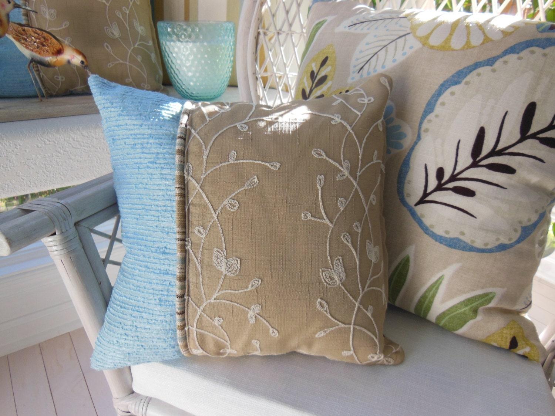 Blue Decorative Designer Pillow Vineyard Khaki with First