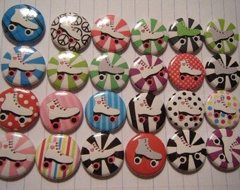 36 Roller Skate Skater Girl Boy Pinback Button Party Favors Brooches