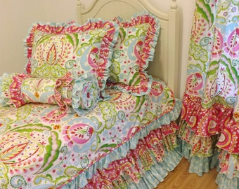 TWIN SIZE Kumari Garden Bedding----Made To Order---Twin Size Bedding