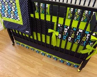 4 Piece Crib Bedding Set-- Groovy Guitar