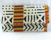ZuriLor White/Black African inspired Printed Envelope Clutch Bag
