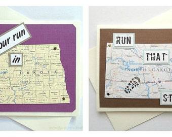 North Dakota - Enjoy Your Run / Race  / Adventure or Run That State - Handmade Running Greeting Card for Marathon, Half-Marathon, Runners