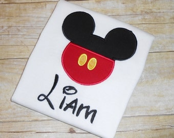 Mickey Mouse pants applique t shirt  - Personalized in Disney font your choice of colors  boy or girl