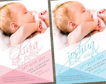Autograph baby birth announcement photo cards. Printable. Baby Boy or Baby Girl all wrapped up.