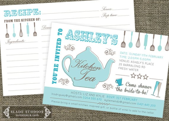 Kitchen tea teapot shower invitations and recipe like this item stopboris Choice Image