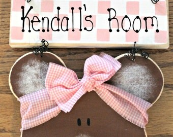 Wooden Teddy Bear Personalized Bedroom Sign
