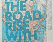 Europe / May The Road Rise With You/ Letterpress Print on Antique Atlas Page