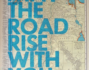 Egypt / May The Road Rise With You/ Letterpress Print on Antique Atlas Page