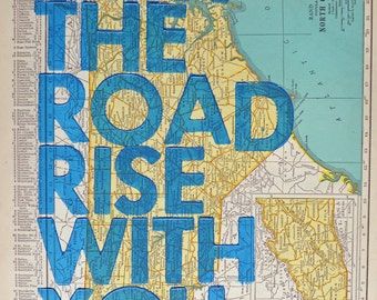 North Carolina / May The Road Rise With You/ Letterpress Print on Antique Atlas Page