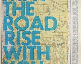 Oregon /  May The Road Rise With You/ Letterpress Print on Antique Atlas Page
