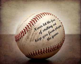 """Vintage Baseball Art - """"Never let the fear of striking out keep you from playing the game"""" boy's room decor, baseball art"""