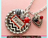 PERSONALIZED Name Or Initial Black & White Chevron Background Bottle Cap Necklace With Matching Beads, Swarovski Crystal And Heart  Charm