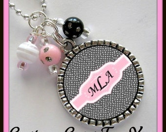 PERSONALIZED Name Bezel Pendant Necklace Or Key Chain  With Matching Beads
