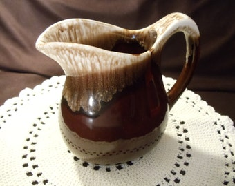 Vintage Brown Drip Glaze Pottery Pitcher