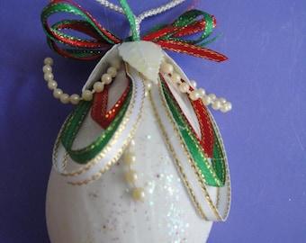 Christmas Egg Seashell Ornament