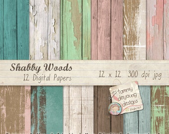Wood Digital Papers Shabby Wedding Chic pink mink  for invitations, scrapbooks, handmade cards, home decor, photocards, paper crafts!