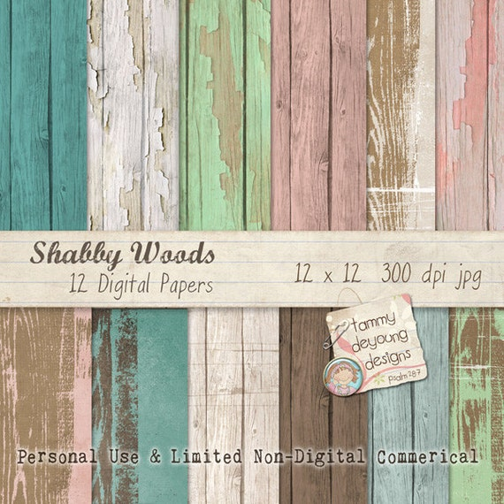 Wood Digital Papers Shabby Wedding Chic Pink Mink For Invitations Scrapbooks Handmade Cards Home Decor Photocards Paper Crafts