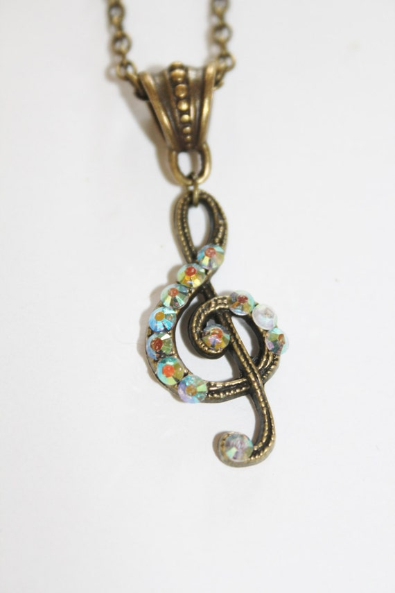 charm necklace, musical note charm, musical charm, musical note