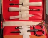Vintage White Leather with Red Piping Sewing & Manicure Travel Kit Made in England, Sheffield scissors