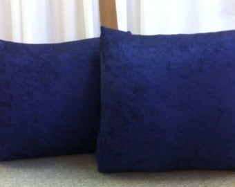 Extra Large Navy Blue Crush  Velvet  Pillows Set of 2  23 x 23 wiith Inserts Included