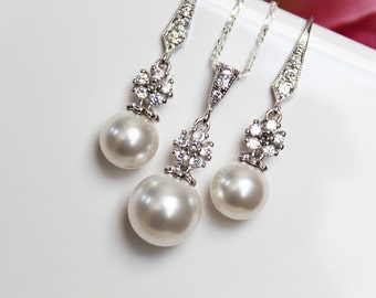 Pearl Drop Bridal Jewelry Set, Crystal Drop Wedding Jewelry Set, Pearl Earrings, Pearl Pendant, Bridesmaids Pearl Earrings and Pendant Set
