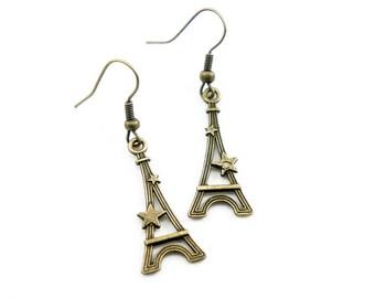 Star Eiffel Tower - Antiqued Brass Vintage Style Dangle Earrings - CP033