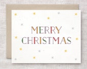 Merry Christmas Card Handmade - Vintage Typography - Holiday Card, Snowflakes - Red, Green, Gold, Gray