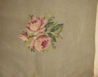 4 vintage needlepoint  chair seats, roses, needlepoint