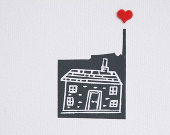 Heart and home lino cut print - grey house with red felt heart-house print art