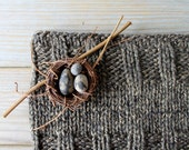 Hand knit chunky winter cowl / earthy brown / brown granite / urban rustic / autumn accessory / minimalist / neck cozy / arctic inspired