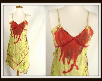 Bloody Green & Pink Stitched Dress PRETTY ZOMBIE VAMPIRE Halloween Costume 4 S