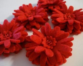 Set of 5pcs handmade felt Daisy - red (DA)