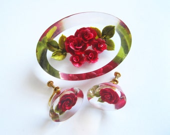 Reverse Carved Lucite Red Rose Brooch and Earrings Vintage