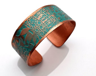Copper Cuff Etched Bracelet with Verdigris Patina