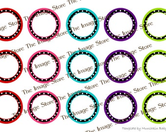 Colorful Polka Dot blank / editable Bottlecap image sheet