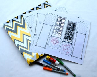 Photobooth Scrap Book Wedding Guest Book spring yellow and gray chevron photo booth guest book