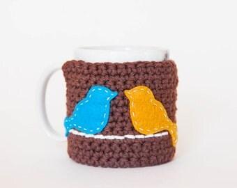 Brown Mug Cozy - Bird Mug Cozy - Brown Cup Cozy