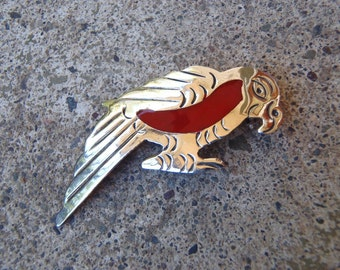 Vintage Mexican Parrot Pin Brooch Red Enamel on Stamped Design, Handmade Alpaca Mexico Jewelry Fashion Accent