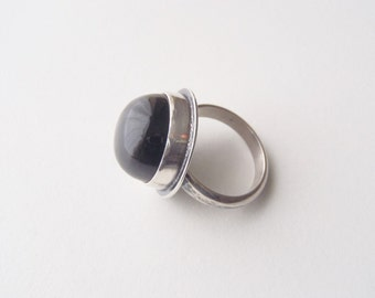 Obsidian & Sterling Silver Ring Size 5 New Handcrafted Jewelry Light Gray California Obsidian Round High Dome Cabochon Plain Simple Setting
