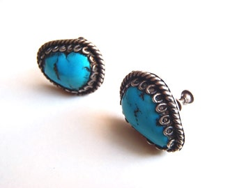 Vintage Turquoise and Sterling Silver Earrings Screw Back Deep Blue Pear Shaped Stones Silver Wire Work Bezels Handcrafted Jewelry