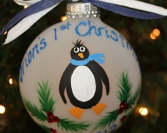 Handpainted Penguin Ornament Handpainted and Personalized with Swarovski Rhinestones as the Berries in the Holly