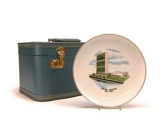 Vintage United Nations souvenir plate - New York UN Headquarters Building