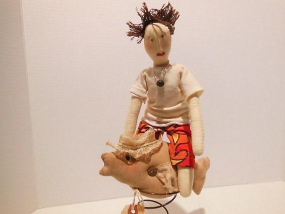 modern folk art doll, beach home decor, man cave decor, surfing, boy nursery