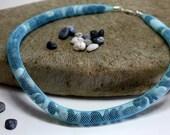 beach stone necklace...pebbles jewelry...beachstones in a mesh tube ...925 carabiner closure...turquoise jewelry...beach jewelry